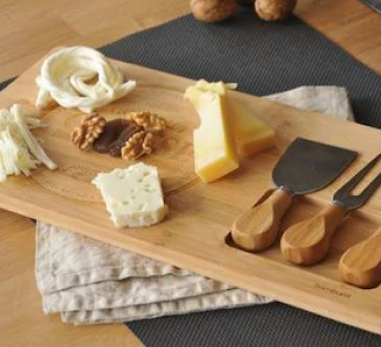 Bambu Peynir Tabak Servis Seti (3 Adet Bıçak)