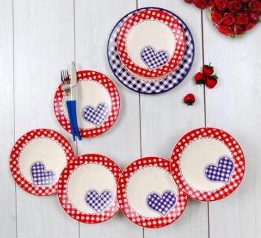 Keramika 6 Kişilik 7 Parça Pötikare Ege Pasta Takımı